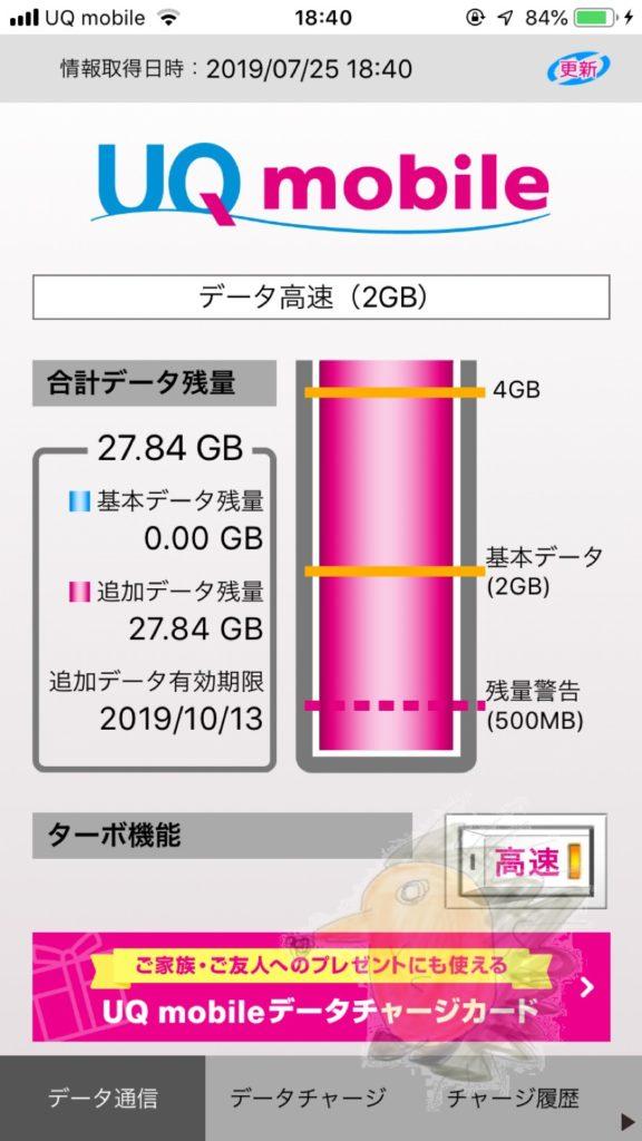 UQモバイルの追加データ残量